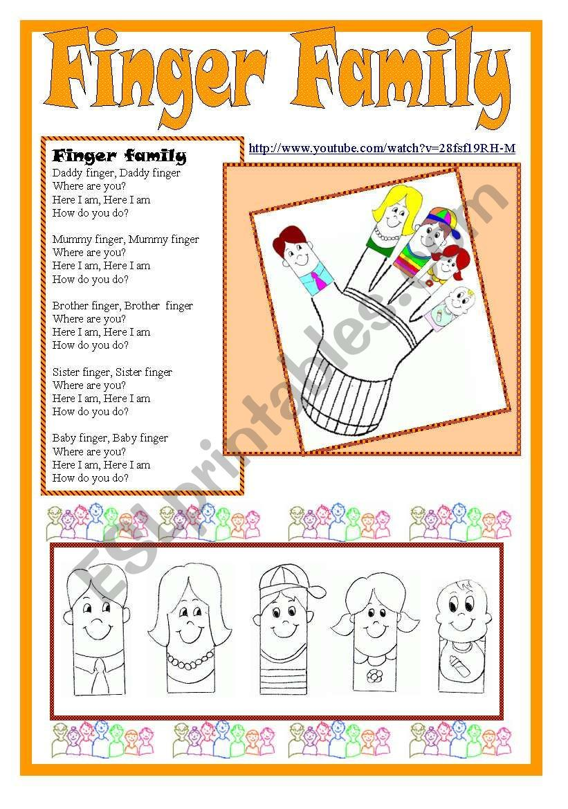 Finger Family kit - ESL worksheet by kodora