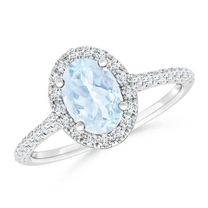 Angara Claw Aquamarine and Diamond Halo Ring in White Gold UxAoDGSyW