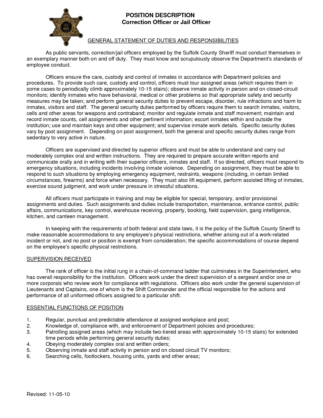resume Sample Resume For Correctional Officer resume for detention officer httpwww resumecareer inforesume additional information 9 correctional job description duties summary