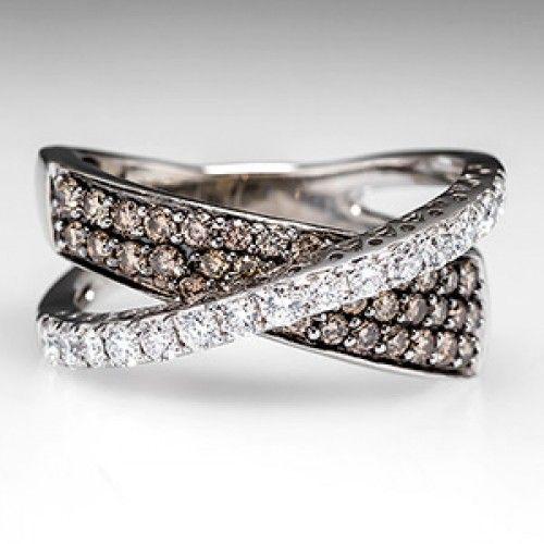 Levian Crossover Ring Chocolate Diamonds 14k White Gold Chocolate Diamonds Crossover Ring Chocolate Jewelry