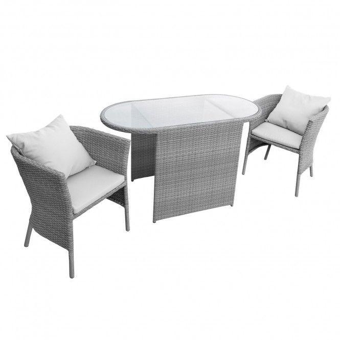 Anndora Lingtang Rattan Sitzgruppe Balkon Gartenmobel 2 Sessel Mit Kissen Tisch Grau Online Kaufen Sitzgruppe Balkonmobel Mobel