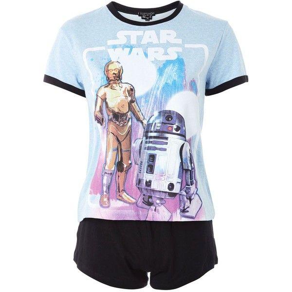 36138cbd05e7 Topshop Star Wars Pyjama Set ($28) ❤ liked on Polyvore featuring intimates,  sleepwear, pajamas, blue, cotton jersey, cotton pyjamas, cotton pajama set,  ...