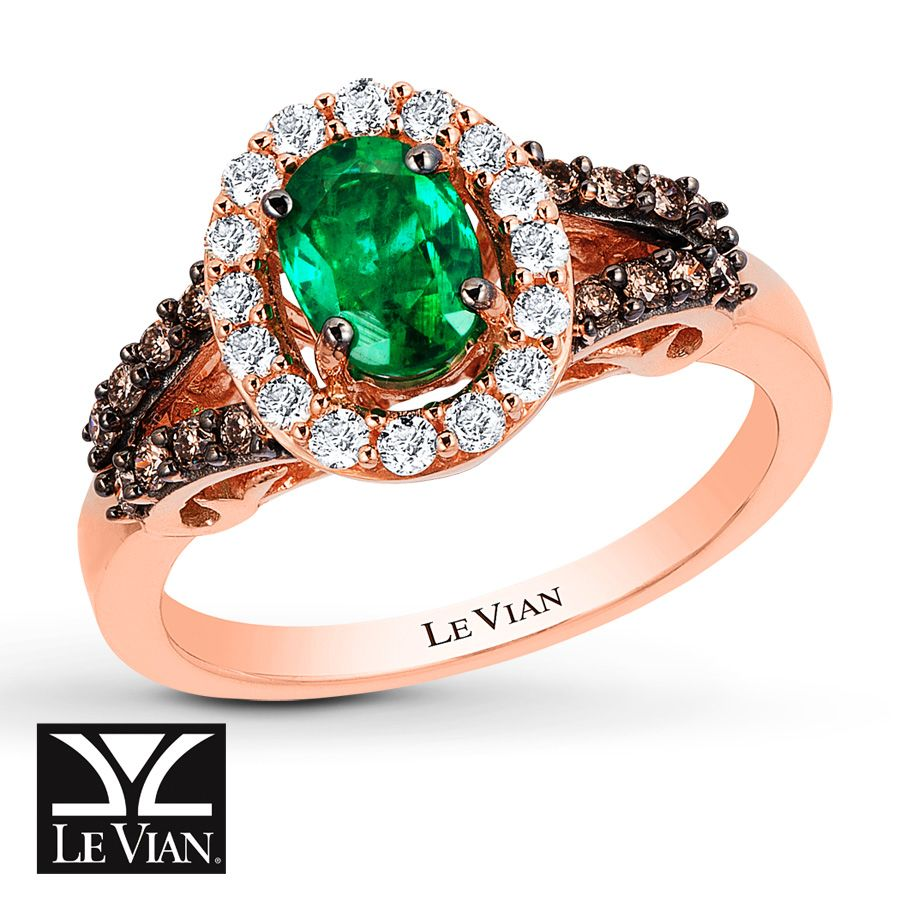 le vian emerald ring 3 8 ct tw diamonds 14k strawberry. Black Bedroom Furniture Sets. Home Design Ideas