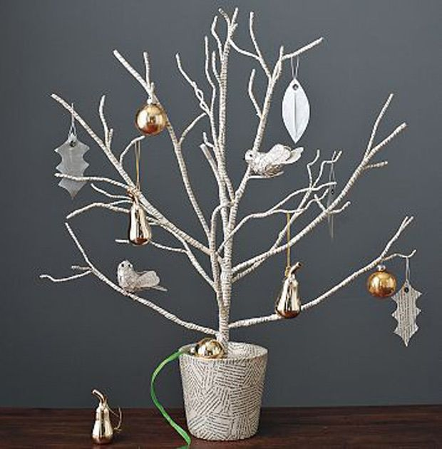 Branches Secure A Bare Tree Branch In A Container With Soil Rocks Or Cement Spray The Branch White Christmas Decor Unique Christmas Trees Modern Christmas