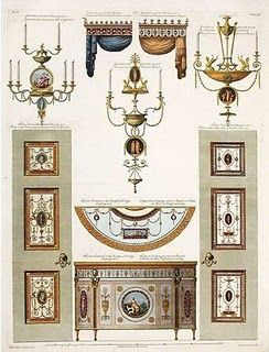 """Federal/Georgian. """"A diagram of details for Derby House in Grosvenor Square in London by Robert Adam."""" From decortoadore.blogspot.com"""