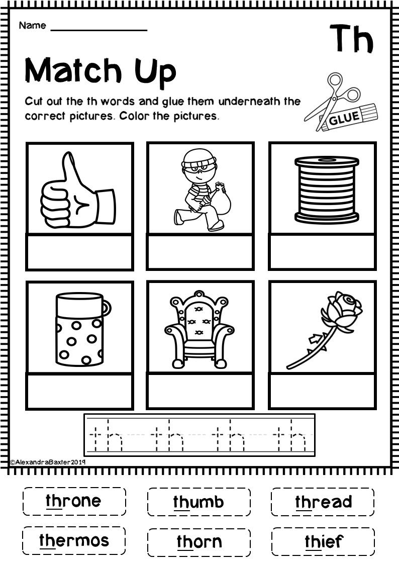 This Product Is A Selection Of 8 Fun And Engaging Phonics Worksheets For The Th Digraph It Is Digraphs Worksheets Phonics Worksheets Phonics Worksheets Free Th digraph worksheets first grade