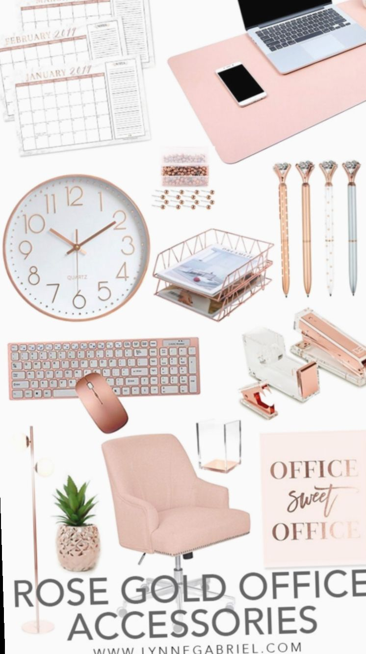 Office Desk Accessories Rose Gold Setupsinc Officedesign Deskgoals Gold Office Decor Work Office Decor Gold Office