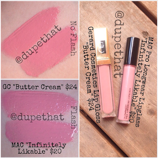 "Gerard Cosmetics ""Butter Cream"" next to MAC ""Infinitely Likable"""