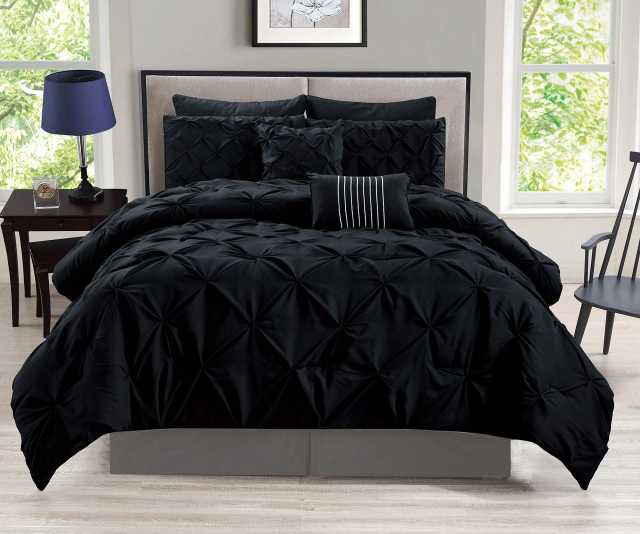 8 Piece Rochelle Pinched Pleat Black Comforter Set Black Comforter Sets Black Bed Set Black Comforter