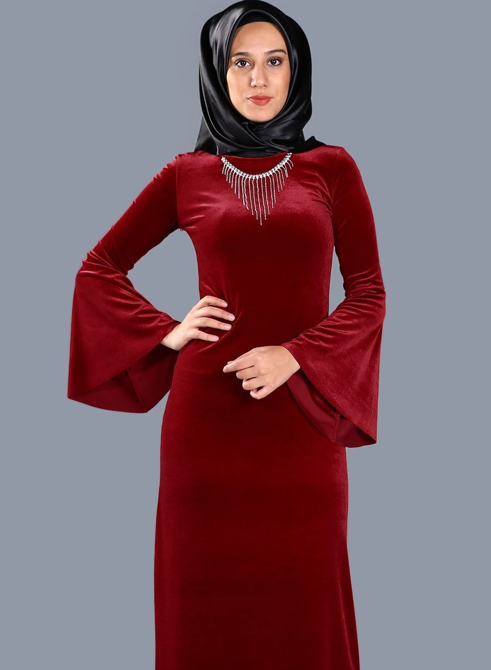 Https Www Tesetturelbisesi Com 2018 Patirti Com Tesettur Abiye Elbise Modelleri High Neck Dress Red Frock Fashion