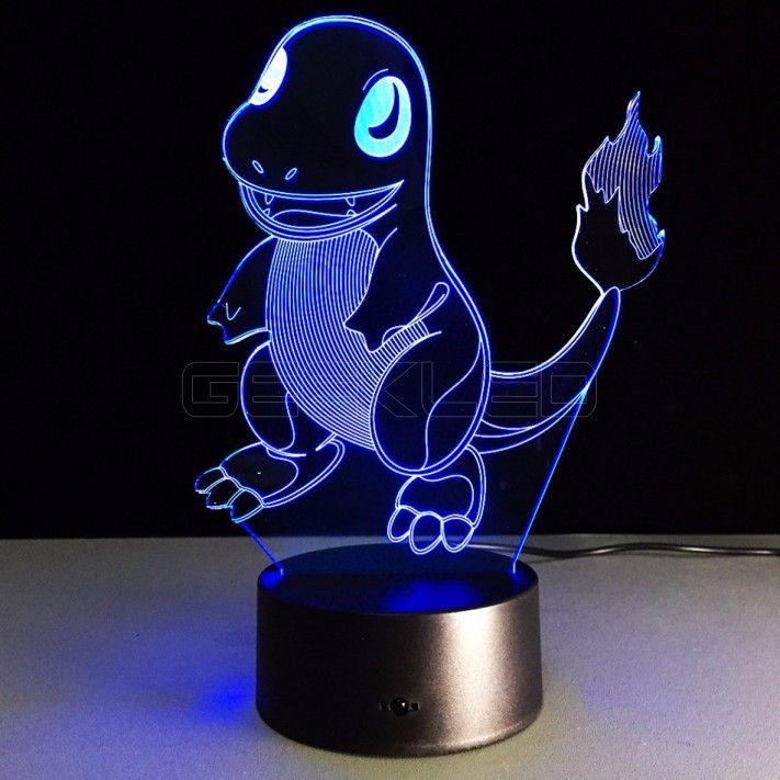 3d Optical Illusion Lamp Night Light Charmander Pokemon Geekled 3d Night Light Night Light Lamp Night Light