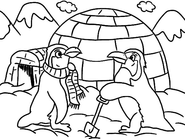 Igloo And Two Penguins Coloring Pages Bulk Color In 2020 Penguin Coloring Pages Penguin Coloring Coloring Pages Winter