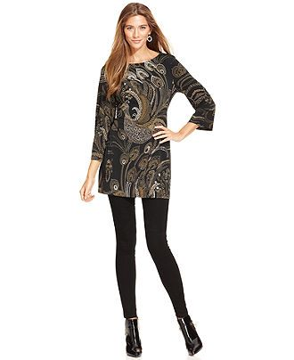 Style&co. Top, Three-Quarter-Sleeve Printed Tunic - Style&co. Tops - Women - Macy's
