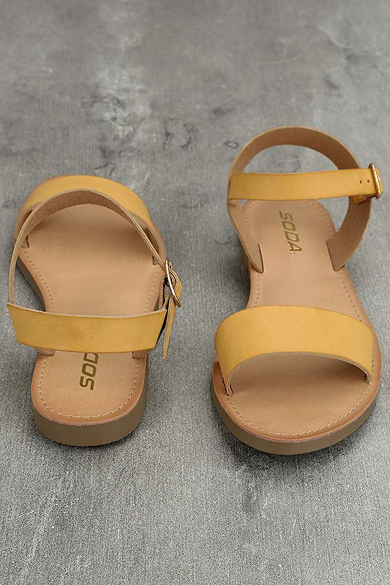 6cc3bdb5dc1 Wear the Kamalei Dark Mustard Flat Sandals anywhere and everywhere! These  perfectly simple sandals have a wide