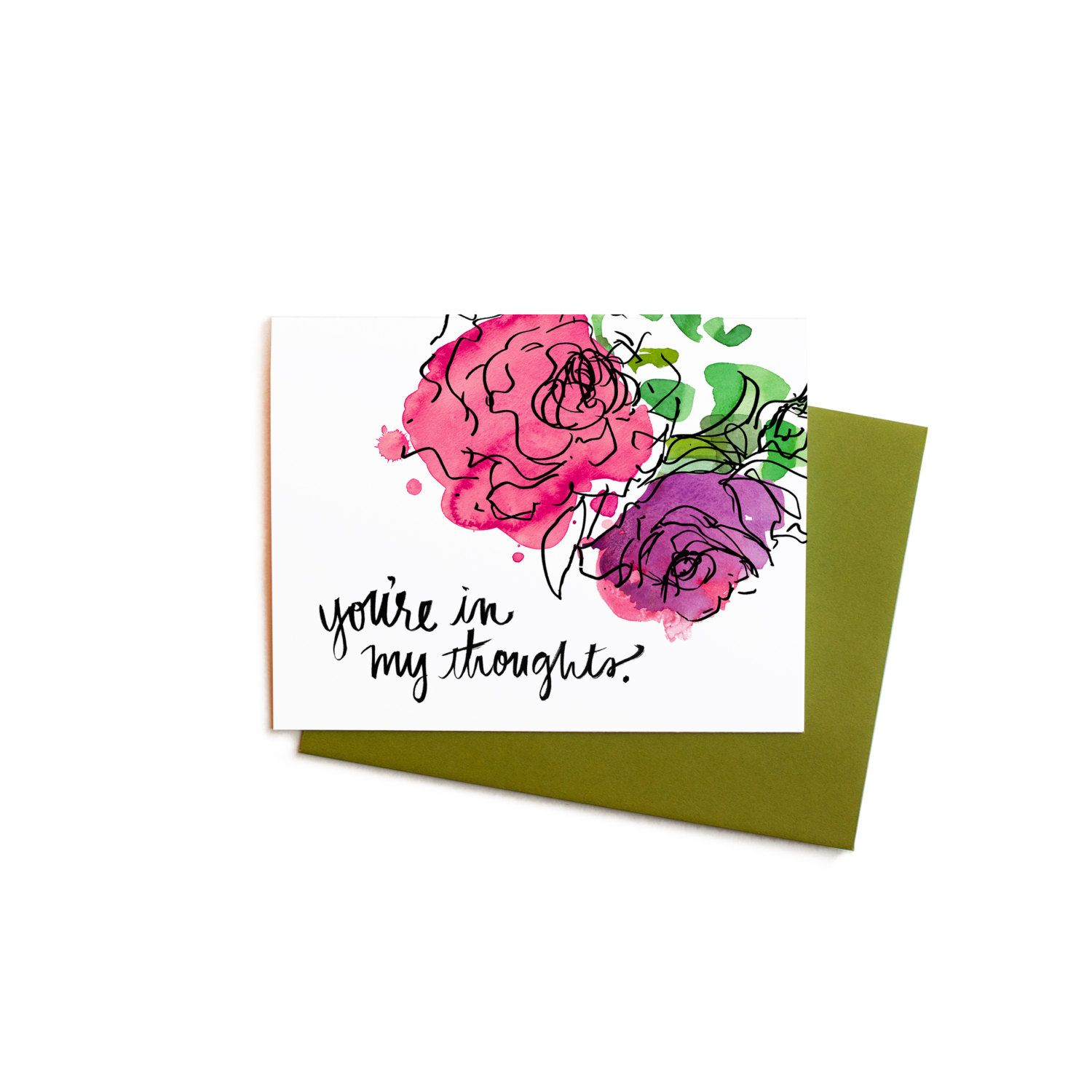 New To Anopensketchbook On Etsy Floral Sympathy Card Watercolor Flowers
