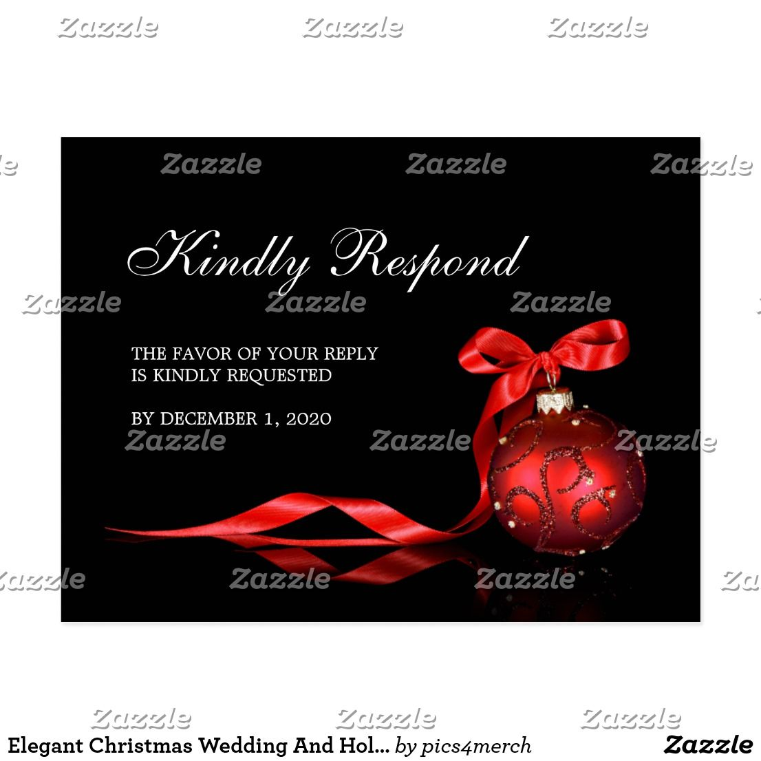 Elegant Christmas Wedding And Holiday Party RSVP Postcard An elegant ...