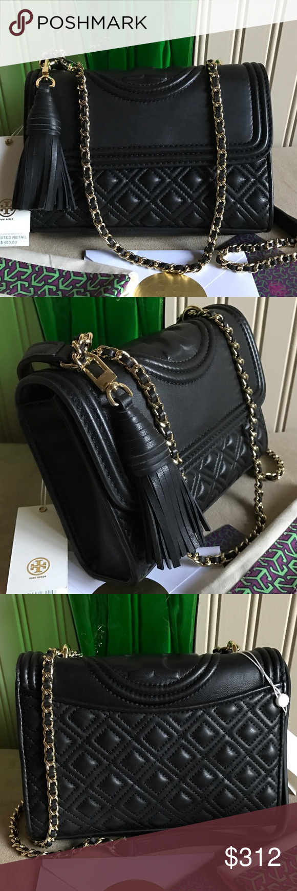 c349d59f342e1 New Tory Burch Fleming Smaller Black New Tory Burch Fleming Small  convertible leather shoulder bag in black. New with tag and dust bag.