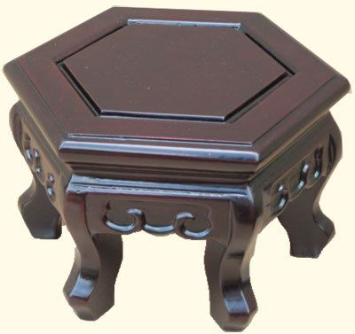 Hexagonal Chen Leung Style Chinese Vase Stand In Solid Rosewood