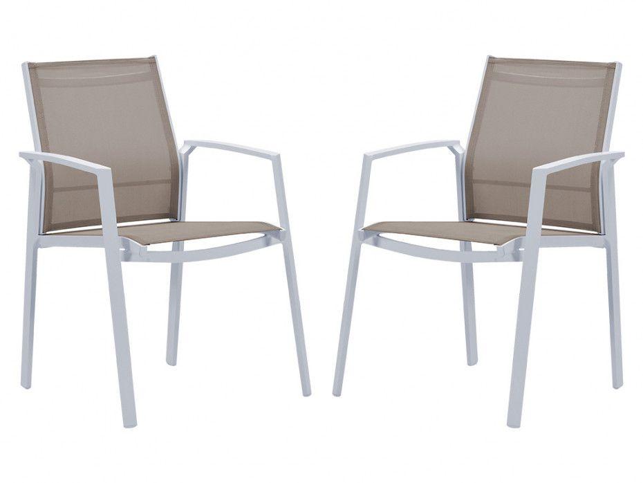Lot de 2 fauteuils de jardin empilables PALAOS en aluminium ...