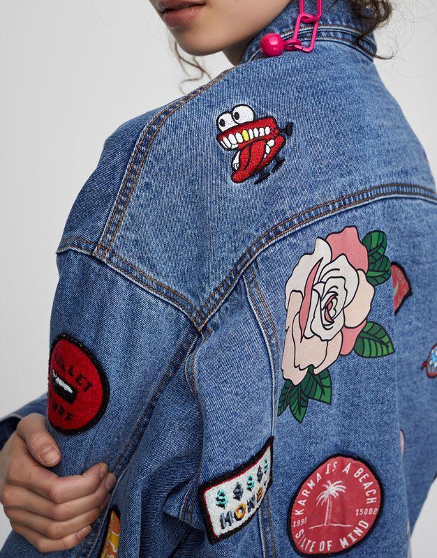 b752a8fb4 Multi-patch denim jacket - New - Woman - PULL&BEAR United Kingdom ...