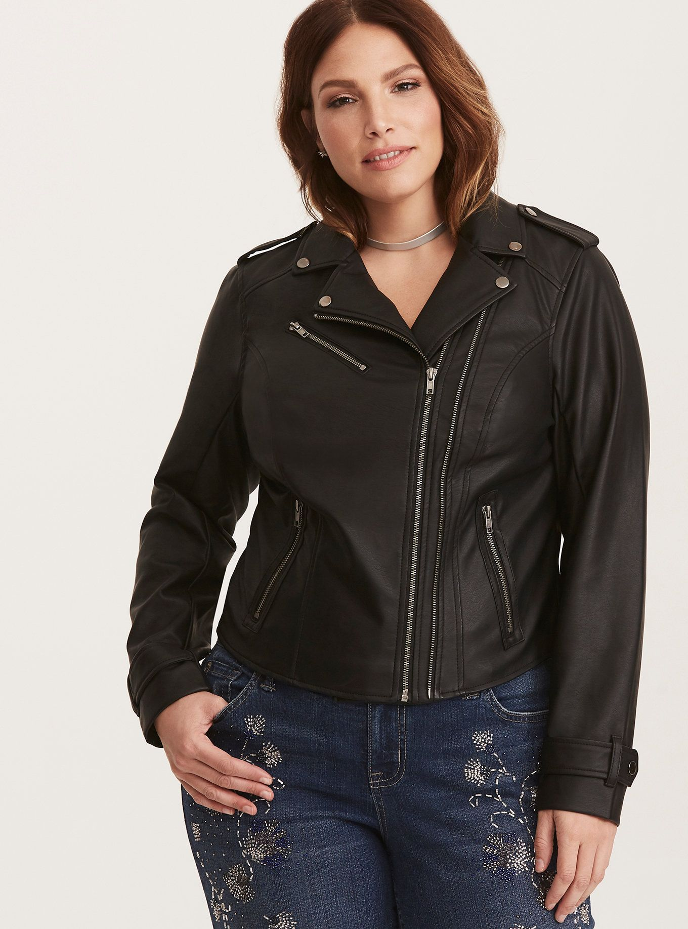 Zipper Faux Leather Moto Jacket Black moto jacket