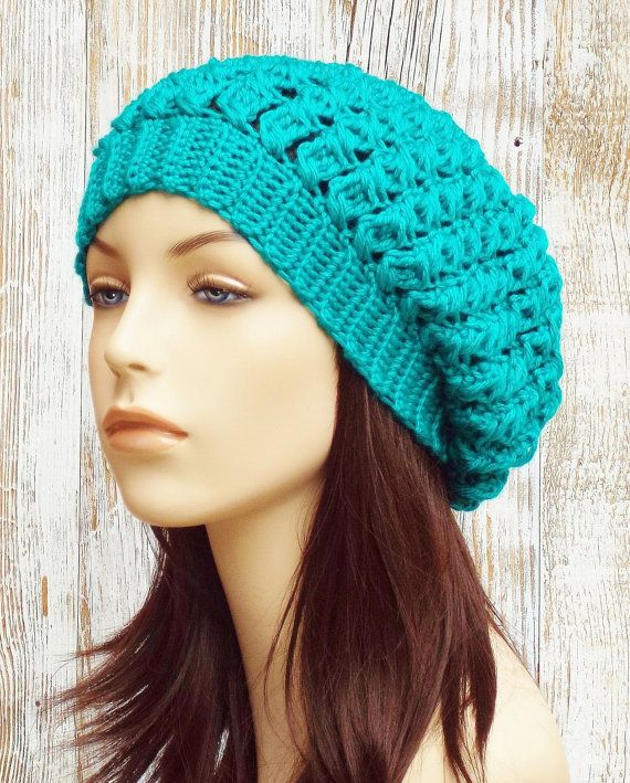 464618012f3 Crochet Slouchy Hat - Slouchy Beret Tam Hat - Womens Slouchy Beanie Hat -  Winter Crochet Hat    THE OCTAVIA    Turquoise Teal Blue Green