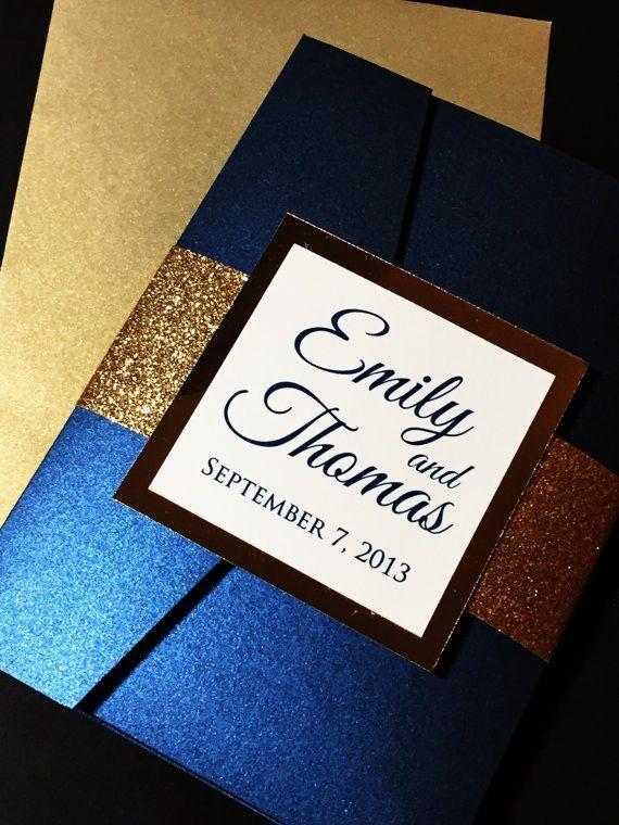 Gold Glitter Wedding Invitation, Luxury Pocketfold Wedding