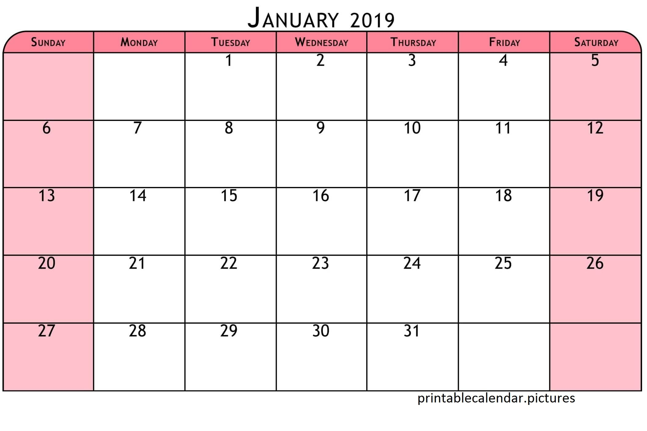 Printable Colorful Calendar January