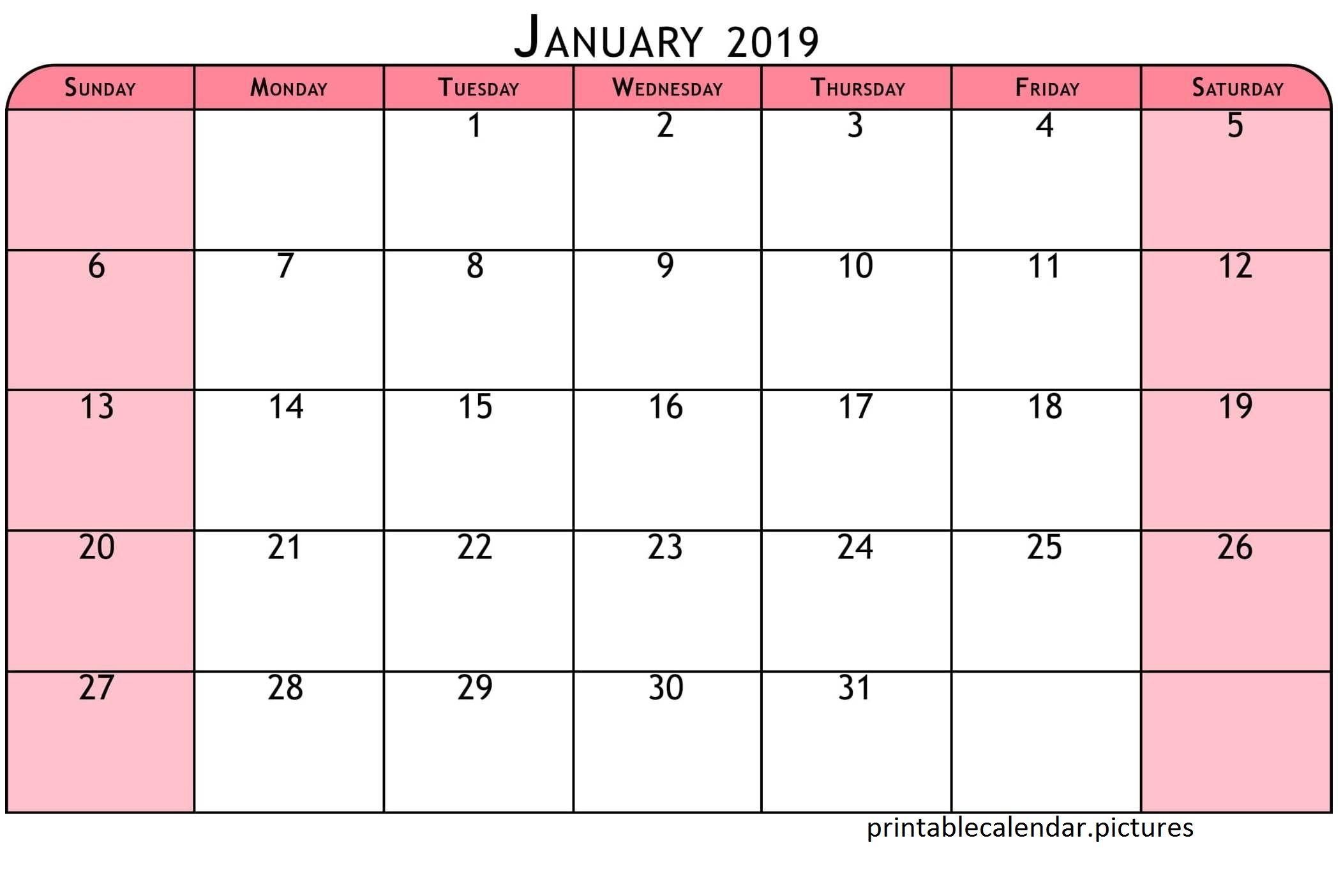Printable Colorful Calendar January