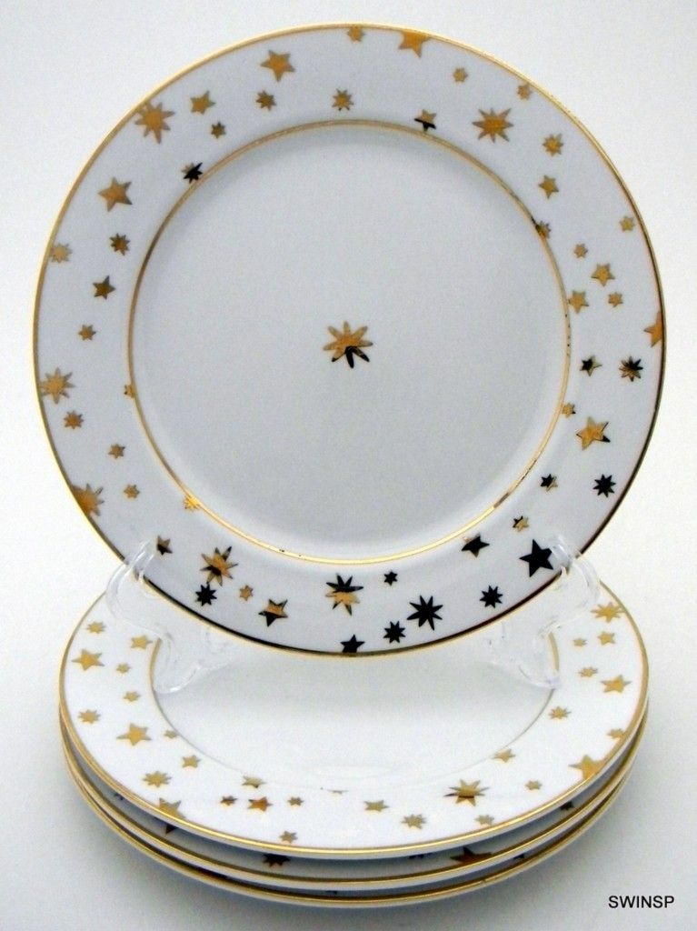 Galaxy Sakura Fine Porcelain China 4 Salad Desert Plates White 14k Gold Stars | eBay & Galaxy Sakura Fine Porcelain China 4 Salad Desert Plates White 14k ...