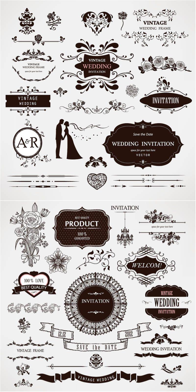 Wedding decor vector ヴィンテージラベル, ウェディング, 結婚式 受付