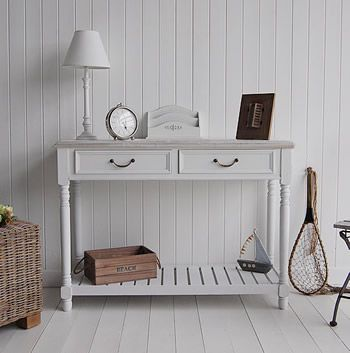 white hallway console table. A White Console Table With Driftwood Top, The Provence Is An Excellent Choice 2 Drawers From Lighthouse Range Of Hallway E