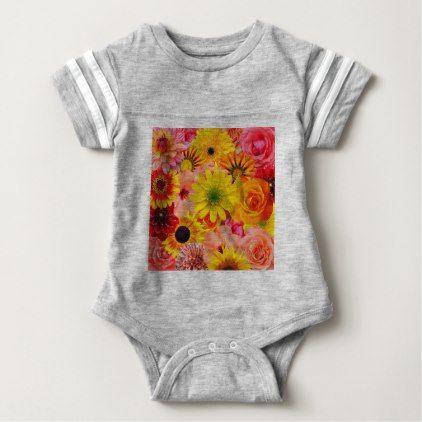 Orange flowers_ Sanchez Glory Baby Bodysuit - pattern sample design template diy cyo customize