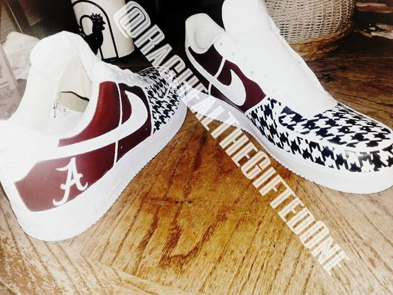 52e4b3e48ccc Alabama shoes I painted for a customer on Nike Air Force 1 s