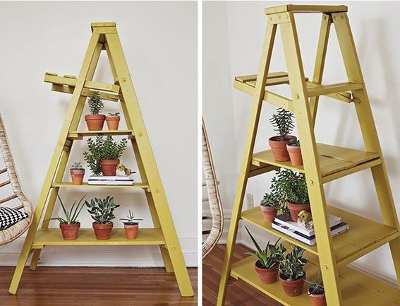 Blumenständer bauen holzleiter gelb pyramide pflanzen | Garten Deko ...