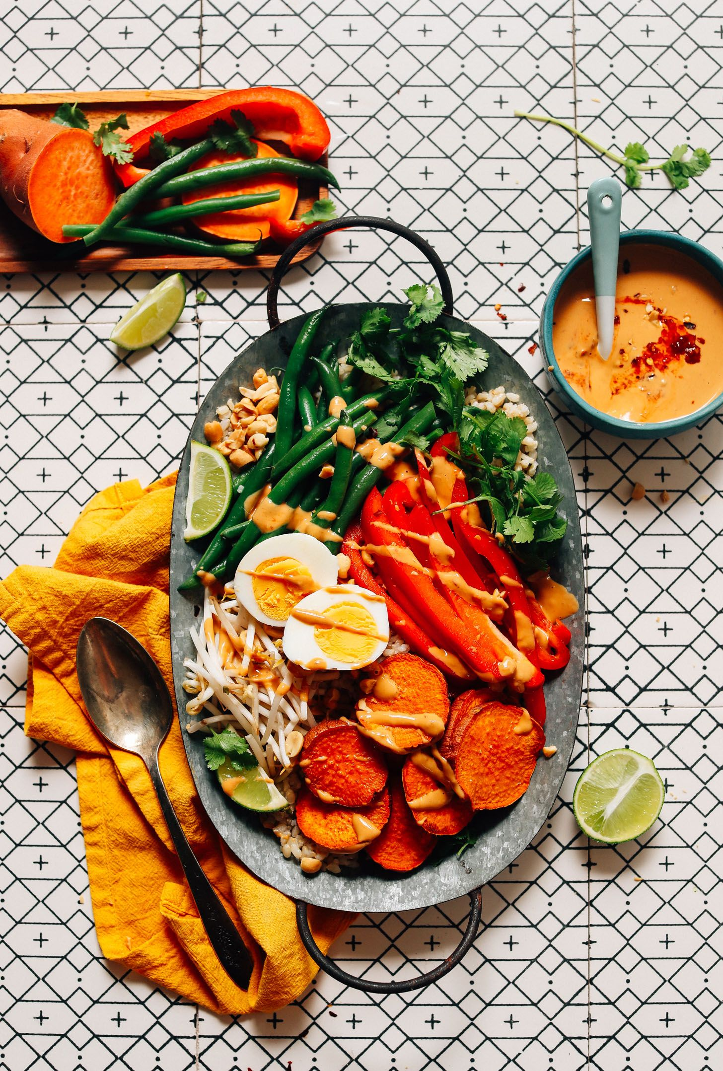 Gado Gado with Spicy Peanut Sauce FRESH and Delicious Gado Gado with Roasted and Fresh Veggies and Spicy Peanut Sauce! Simple ingredients, ready in 30 minutes!