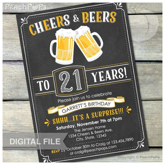 Surprise 21st Birthday Invitation Cheers Beers Invite Chalkboard Party Men Women
