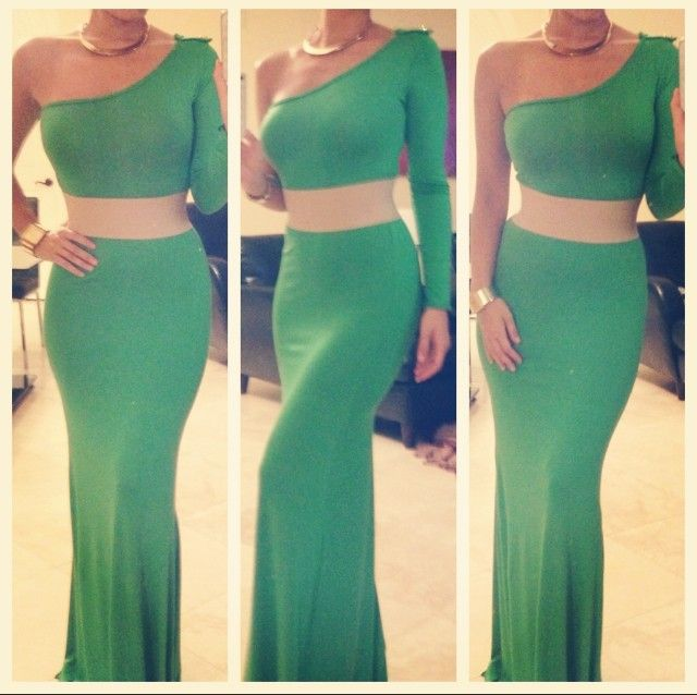 Kelly Green One Shoulder Maxi Dress
