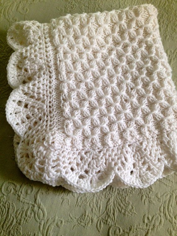Hand knit Smock pattern Baby Blanket with Beautiful Crocheted Edge ...