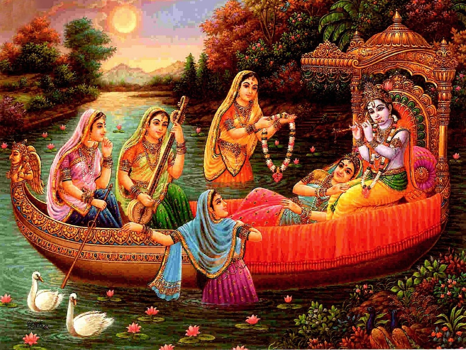 Wallpaper download krishna bhagwan - Krishna Bhagvan With Radha And Gopi Best 1080p Photo Art
