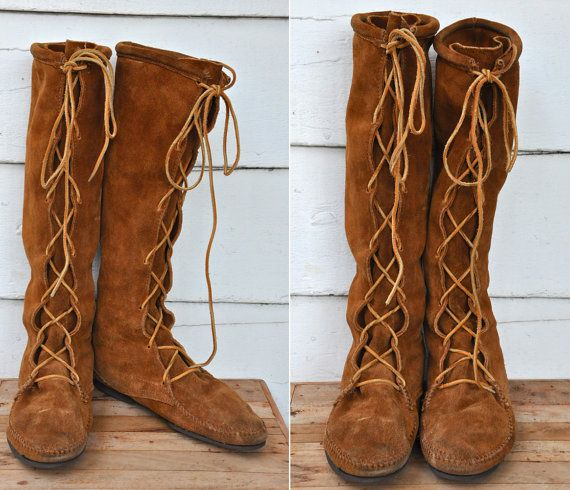 MINNETONKA Tall Boots Knee High Lace-up Brown Suede Moccasins ...