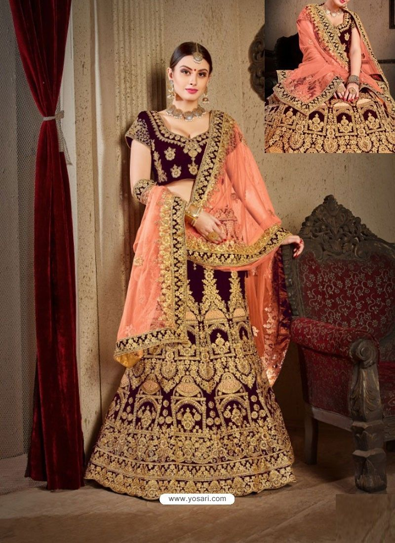 0f08704987 Wine Velvet Heavy Embroidered Designer Wedding Lehenga Choli ...