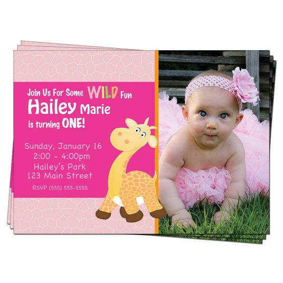 Giraffe Invitation First Birthday Party Giraffe Birthdays and