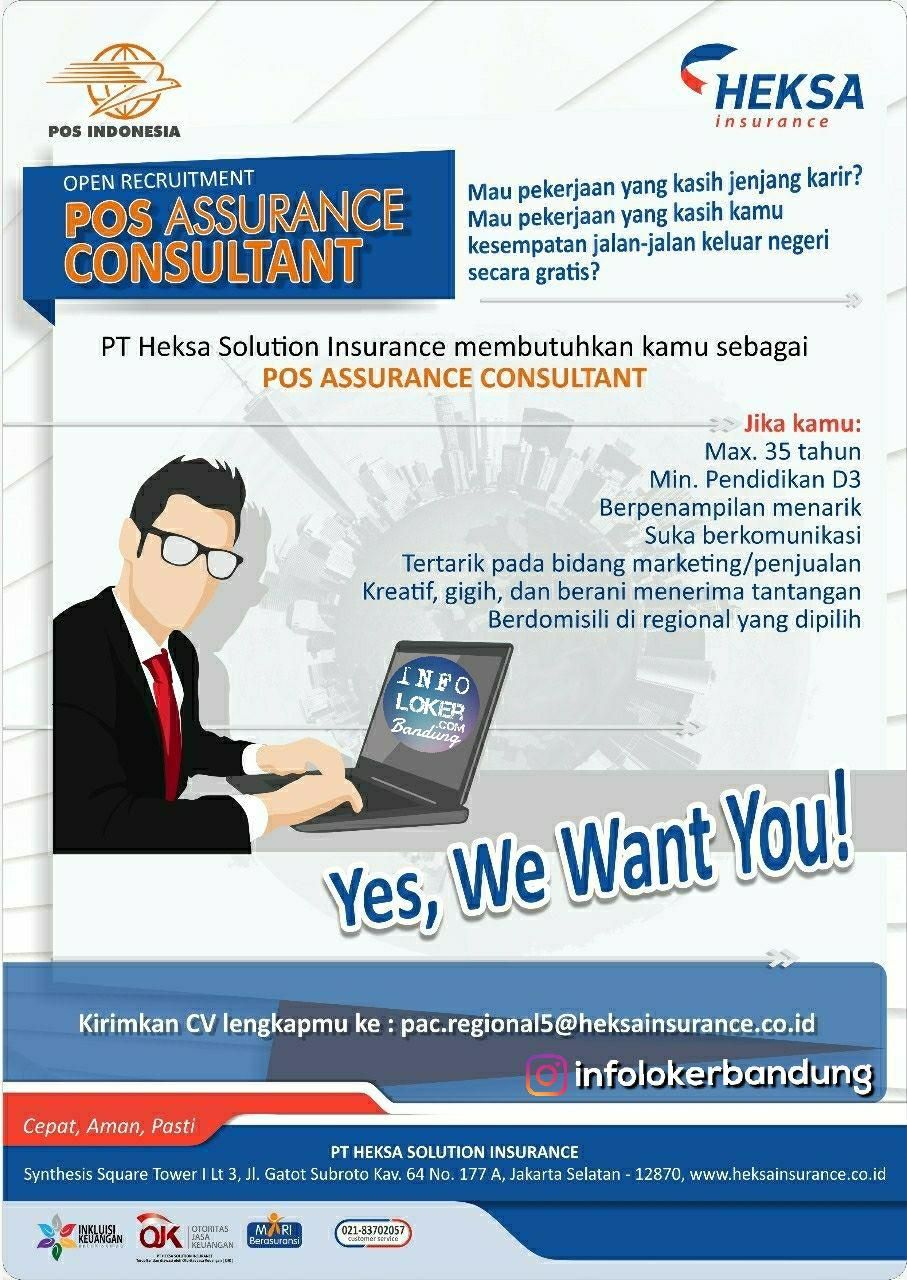 Lowongan Kerja PT. Heksa Solution Insurance Bandung Juli