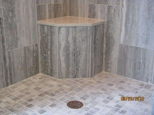 Beautiful Tiled Shower Bench