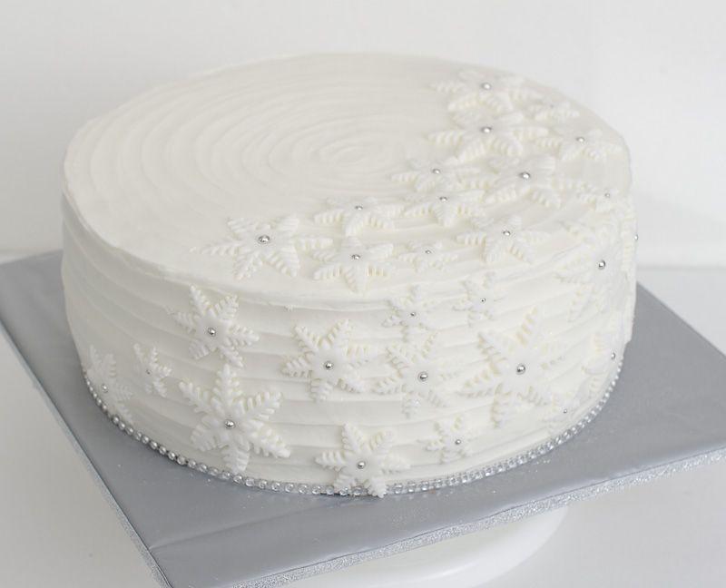 Snowflake Christmas Cake Vintage White with silver