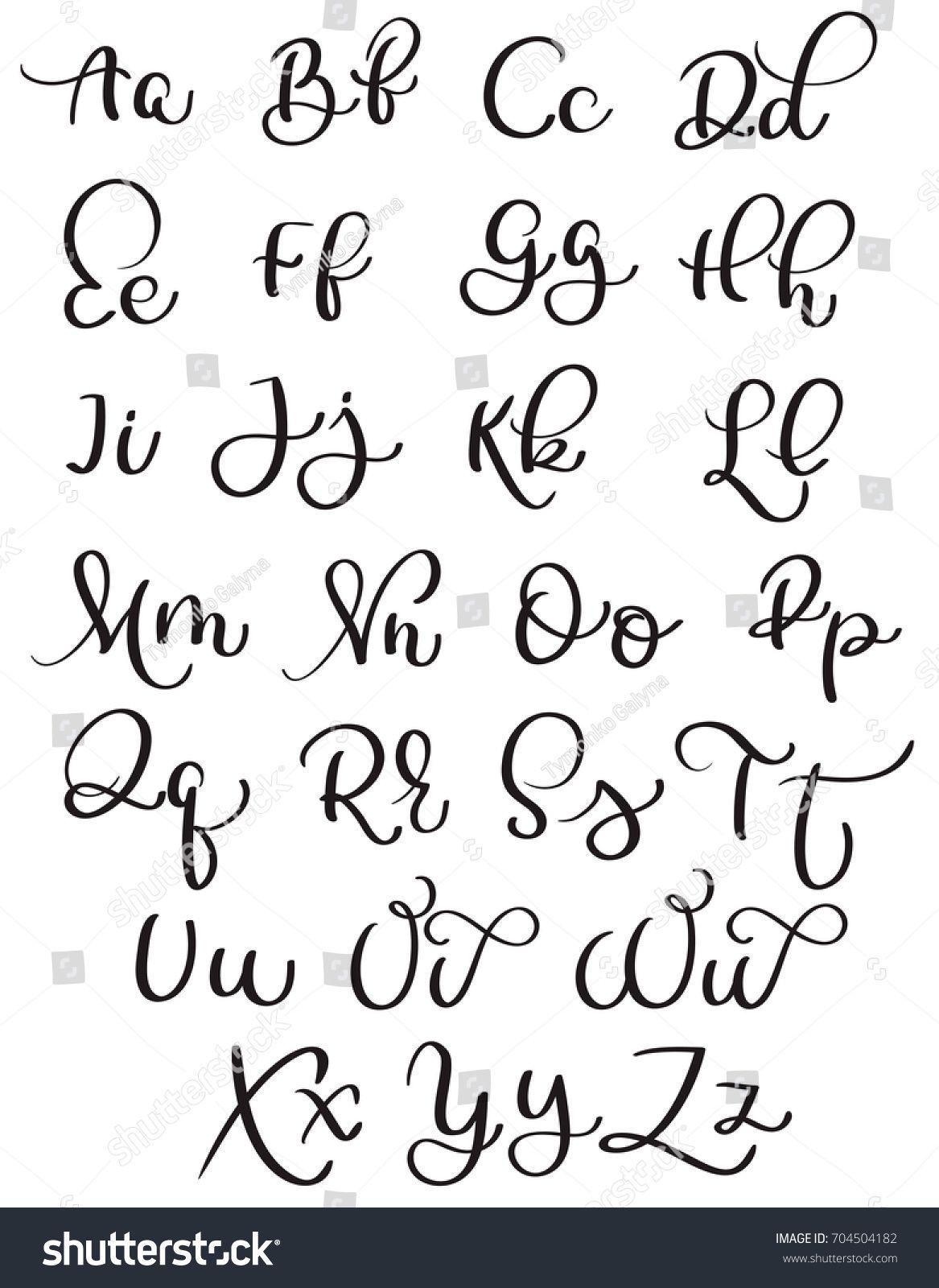 vintage alphabet on white background  Hand drawn Calligraphy