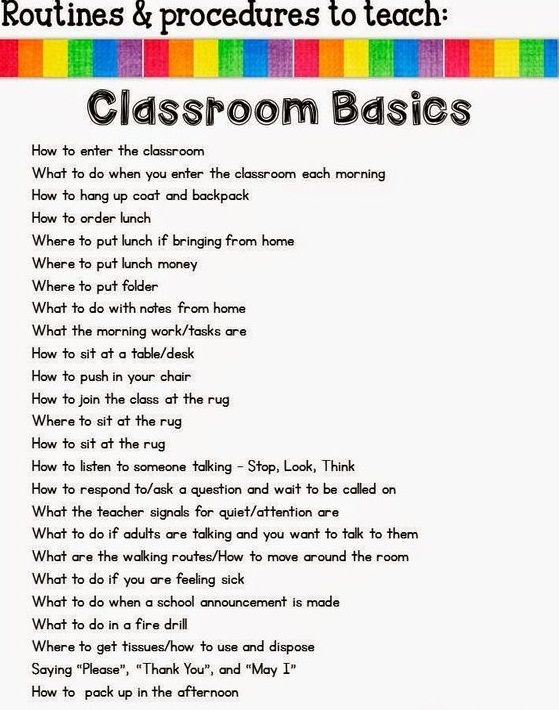 Important routines and procedures of Classroom that every Student needs to learn  is part of Classroom -