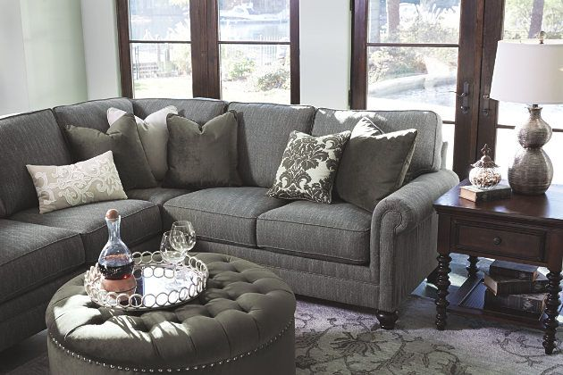 Graphite Kittredge 2-Piece Sectional View 4 Glamorous living room