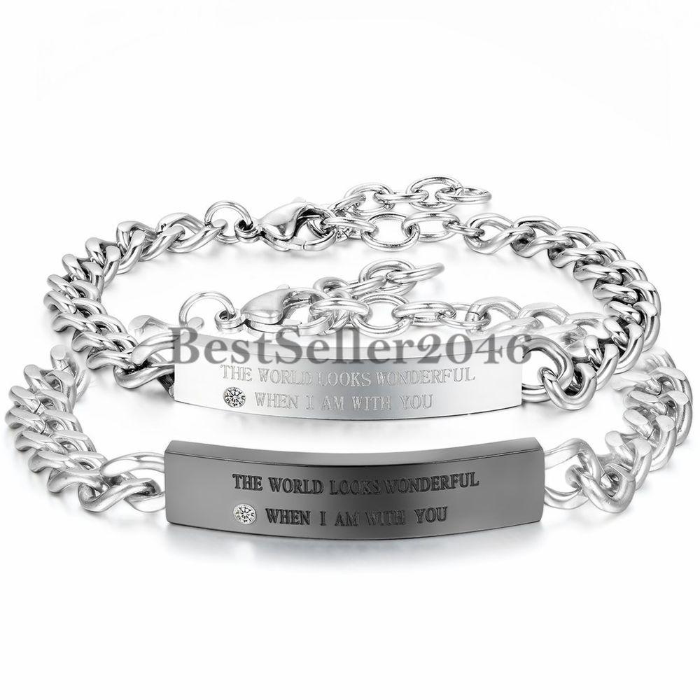 Details Zu Edelstahl Armband Gravur Silber Schwarz Panzerkette Kette Partner Armreif Armband Gravur Edelstahl Armband Armreif